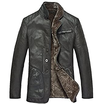Cwmalls Men&39s Shearling Leather Jacket (X-Large) at Amazon Men&39s