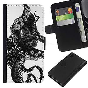 A-type (Black White Photo Tentacle Monster) Colorida Impresión Funda Cuero Monedero Caja Bolsa Cubierta Caja Piel Card Slots Para Sony Xperia Z1 L39
