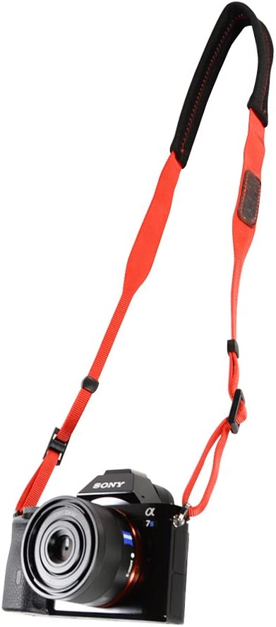 Foto/&Tech Padded Neck Shoulder Strap with Black Grosgrain Ties Compatible with Fujifilm Samsung Sony Olympus Panasonic Canon Nikon Pentax Compact Cameras Point and Shoots Cameras
