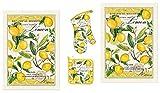 lemon oven mitt - Michel Design Works Lemon Basil 4 Piece Kitchen Set - 2 Towels, Oven Mitt, Potholder