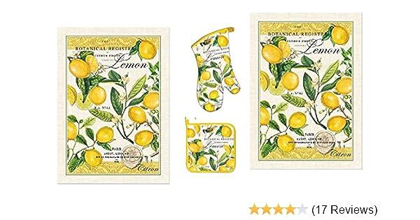Michel Design Works Lemon Basil 4 Piece Kitchen Set 2 Towels Oven Mitt Potholder