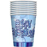 Unique Party 9 oz Glitz Birthday Paper Cups (Pack of 8, Blue)