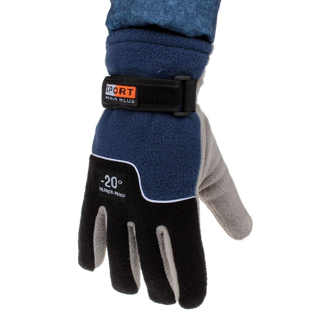 Lookatool Windproof Men Thermal Winter Motorcycle Ski Snow Snowboard Gloves (Blue)
