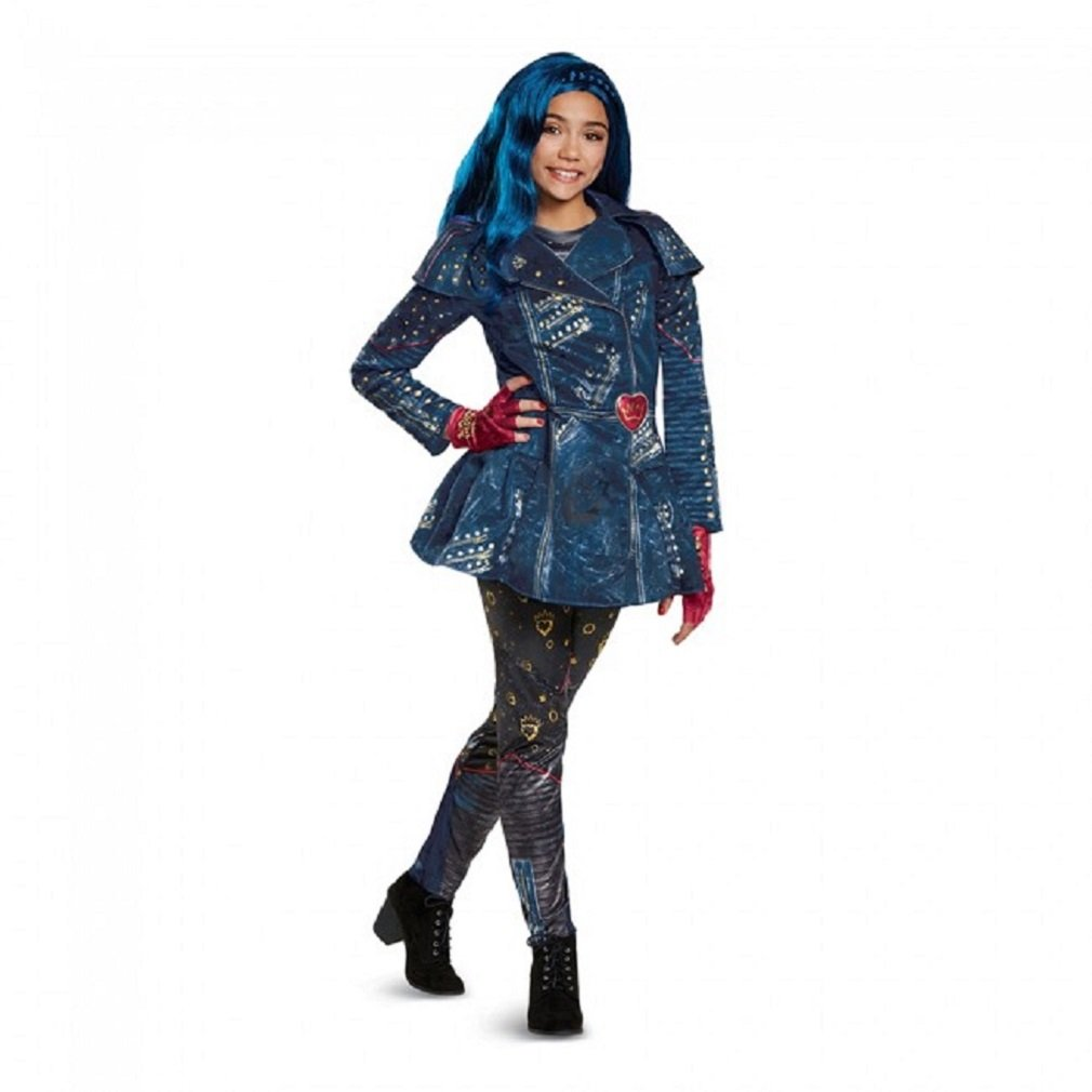 Disney Evie Deluxe Descendants 2 Costume with Wig, Blue, Large (10-12) by Disguise