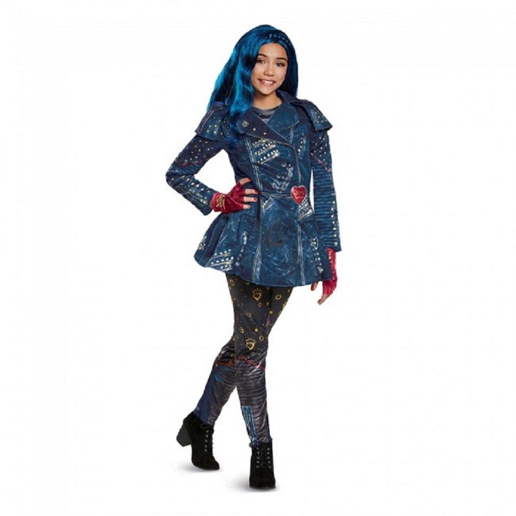 Disney Evie Deluxe Descendants 2 Costume with Wig, Blue, Large (10-12)