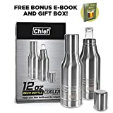 Beer Bottle Cooler- Double Wall Stainless Steel Beer Bottle Insulator. Great Fathers Day Gift ! BONUS e-Book and Gift Packaging Twin Pack