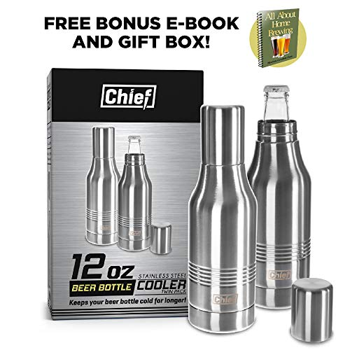 (Beer Bottle Cooler - Unique Double Wall Stainless Steel Beer Bottle Insulator. By Chief. Twin Pack. BONUS e-Book and Gift Packaging.)