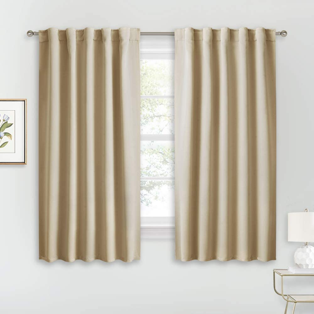 RYB HOME Room Darkening Curtains - Rod Pocket & Back Tab Haning Top, Sunlights Block Privacy Curtains for Kitchen Dining Sitting Room Home Office Kids Playroom, 42 x 54, Biscotti Beige, 2 Panels