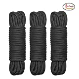 32 feet (10m) All Purpose Soft Cotton Rope, Black, Pack of 3