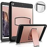 iPad Mini 2 Case - iPad Mini 3 Cover - Fingic Heavy Duty Protection Cases with Kickstand&Built-in Plastic Screen Protector Cover for Apple iPad Mini 1 2 3 Tablet - (Rose Gold)