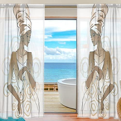 SAVSV Window Sheer Curtains Panels African Woman Portraits Window Treatment Set Voile Drapes Tulle Curtains 84 Inches Long