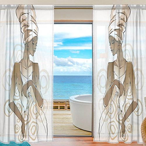 SAVSV Window Sheer Curtains Panels African Woman Portraits Window Treatment Set Voile Drapes Tulle Curtains 84 Inches Long For Living Room Bedroom Girl's Room 2 Panels