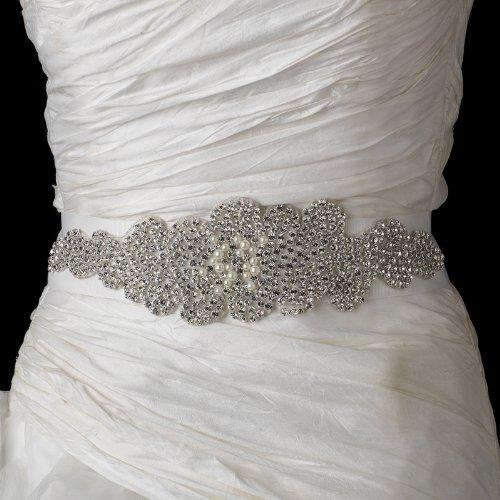 Glamour Pearl & Rhinestone Glitz Wedding Bridal Sash Belt - White by Fairytale Bridal Accessories