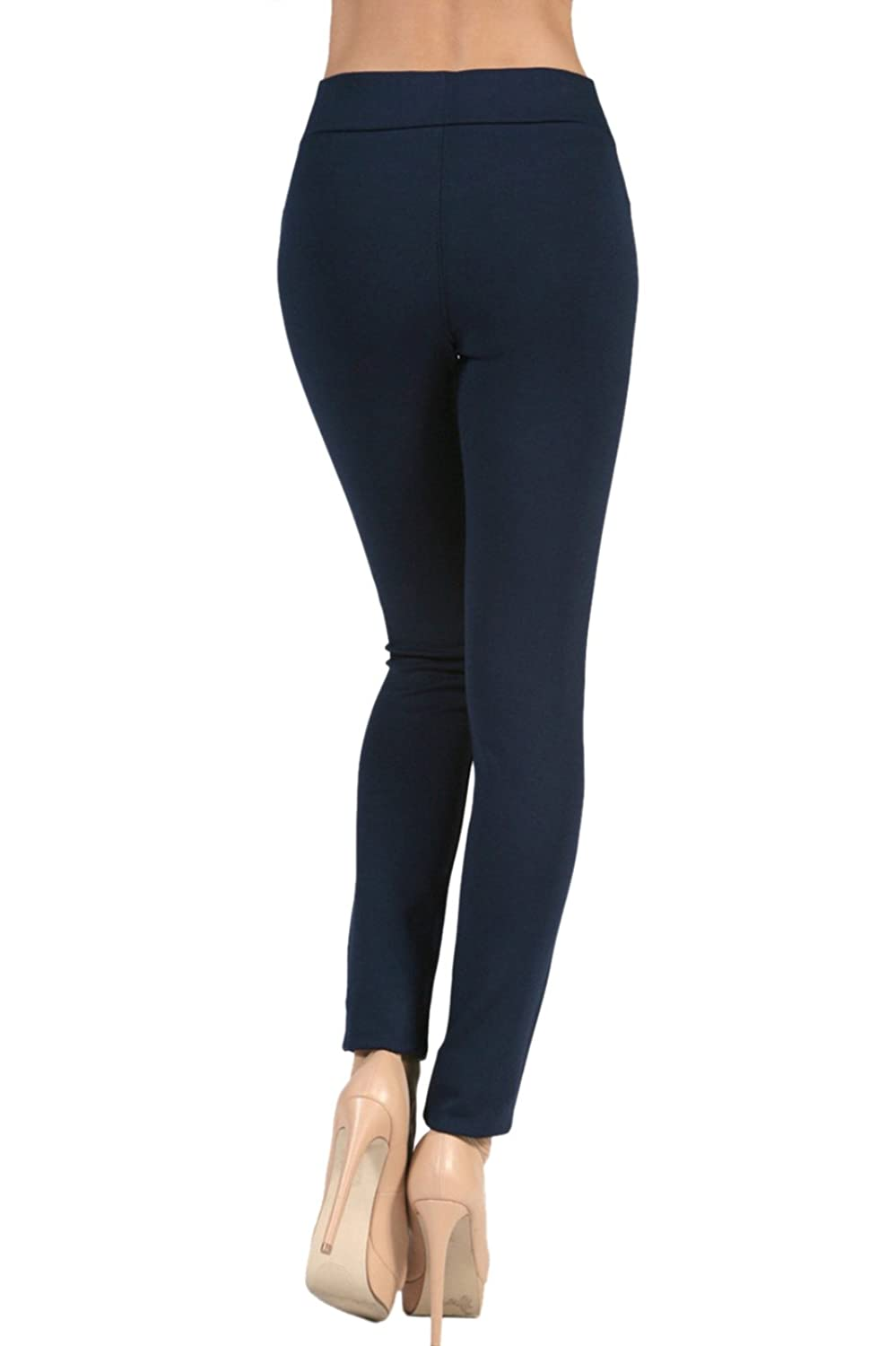 2LUV Women's Stretch Ponte Pants with Tipped Waistband