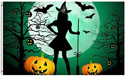 ShineSnow Funny Witch Pumpkin Halloween 3x5 Feet Flag, Polye