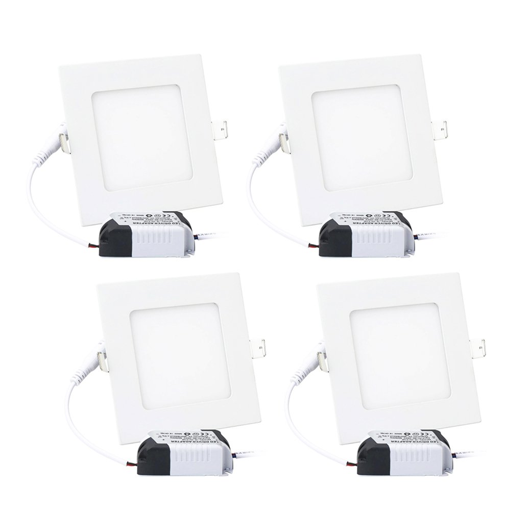 9W 4'' Ultra Thin Dimmable LED Recessed Lighting Fixture Retrofit Downlight - 6000K Daylight Cool White - Square LED Ceiling Light - 900 Lumens, 70W Equivalent, 4 Pack