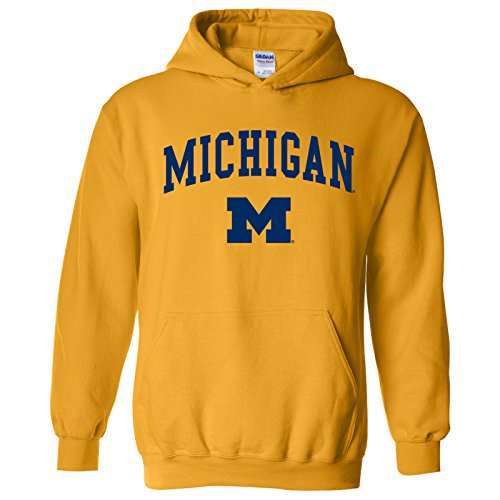 AH03 - Michigan Wolverines Arch Logo Hoodie - X-Large - Gold (Day Watch Michigan Wolverines Game)