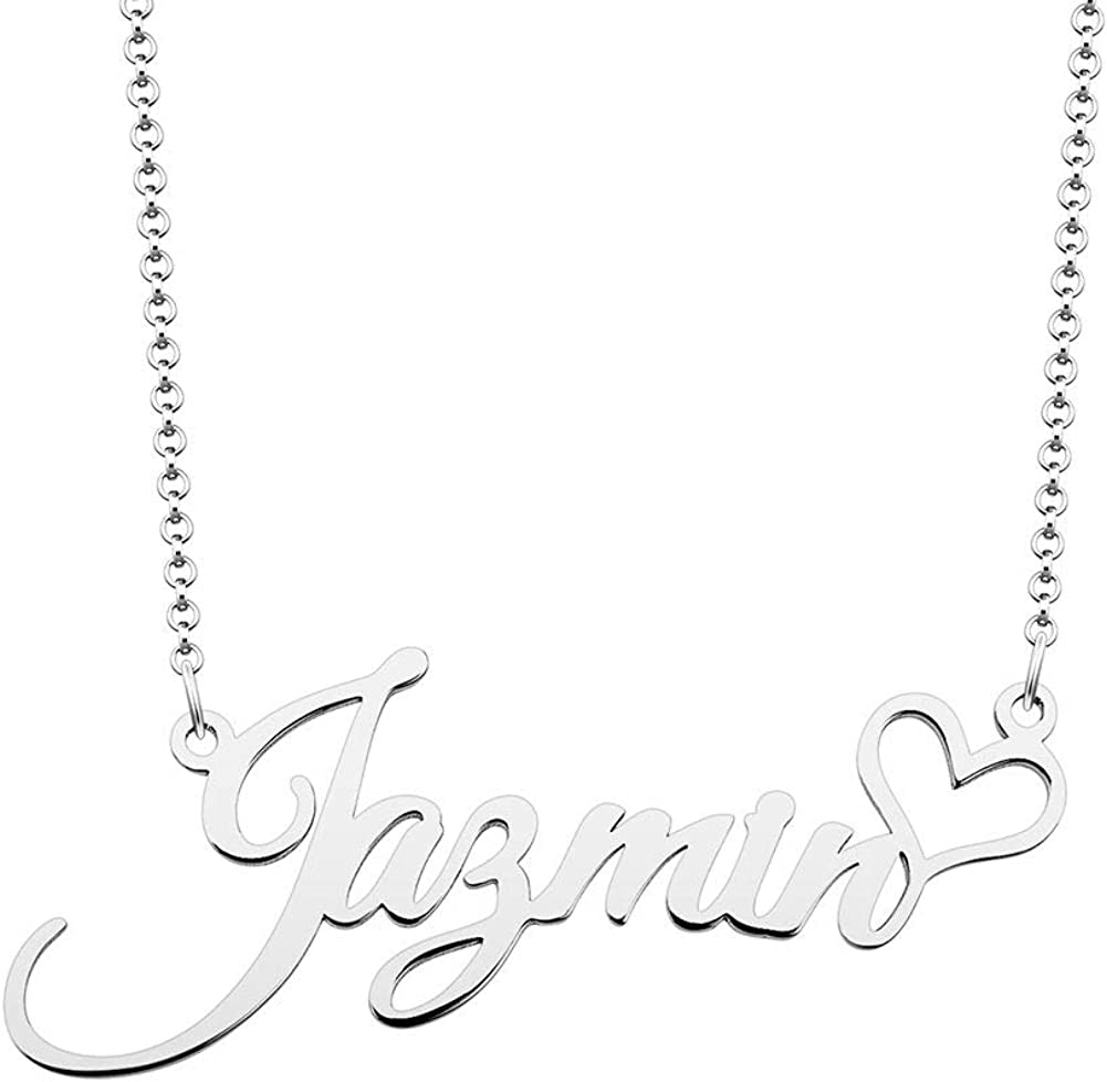Lifequeen 925 Sterling Silver Heart Personal Name Necklace Semi-Custom Made Customized Personalized Gift for Girls Boys Women Men