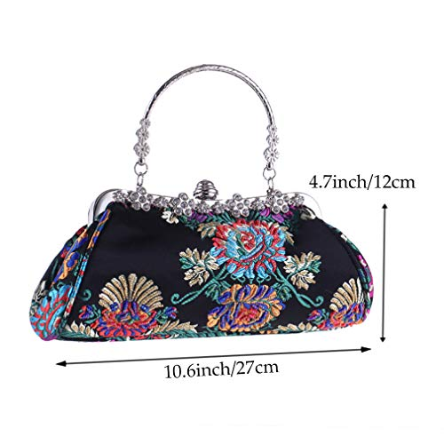 Black Evening Embroidery For Pure Party Clutch Vintage Wedding Handbag YANXH Women Bag Manual Diamante Black Beaded Style Women's EwTcBq