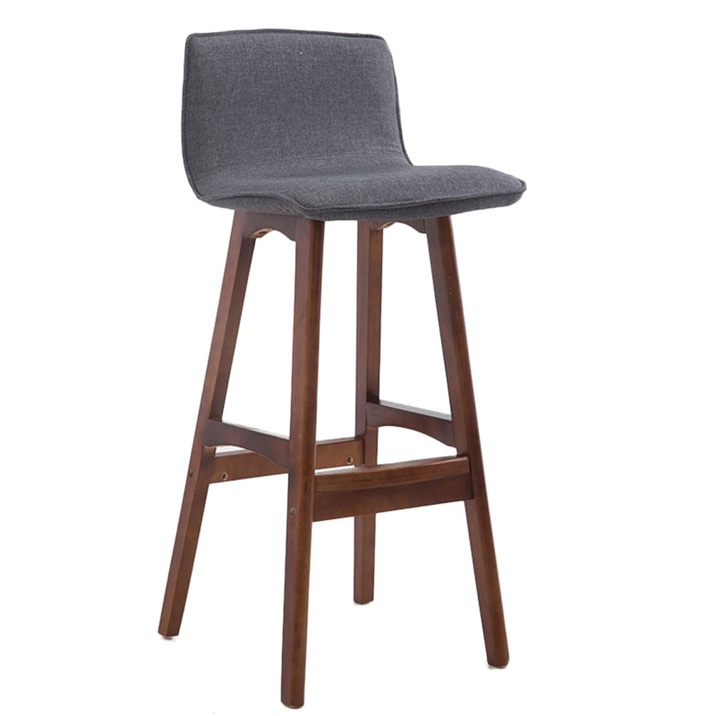 B Bar Stool Bar Stool Solid Wood high + Fabric Cushion Boss Chair (color   F)