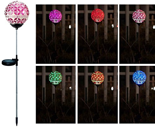 Solar Powered Led Mosaic Glass Garden Stake Lights in Florida - 5