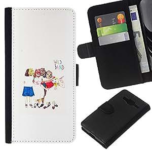 KingStore / Leather Etui en cuir / Samsung Galaxy Core Prime / Arte para niños Blanco Minimalista;