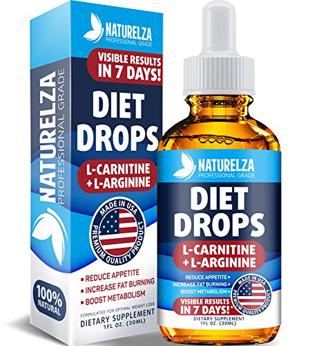 Weight Loss Drops - Made in USA - Best Diet Drops for Fat Loss - Effective Appetite Suppressant & Metabolism Booster - 100% Natural, Safe & Proven Ingredients - Non GMO Fat Burner - Garcinia Cambogia (Best L Carnitine Supplement For Weight Loss)