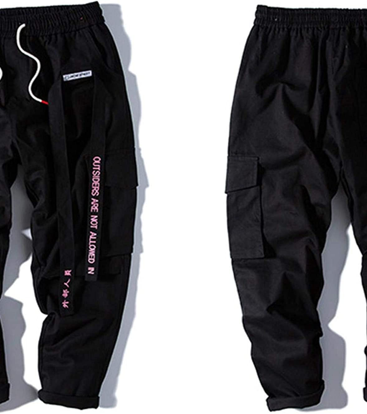 Tasty Life Pantaloni Jogging Hip-Hop da Uomo Pantaloni Harlan Street Abbigliamento Nastro Lettere Ricamate Pantaloni Casual Popolari Tute Nere Rosa Moda Casual.