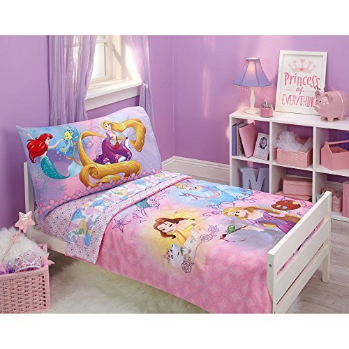 Disney Princess Adventure Rules 4pc Toddler Bedding Set - Belle - Ariel - Tanggled -Cinderella from Disney Princess