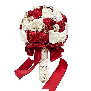 Abbiehome Handmade Bridal/Brooch/Bridesmaids Bouquet Satin Roses with Crystal Diamond Pearl Decor (Burgundy) 51