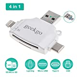 geekgo Micro SD Card Reader for iPhone iPad/Android Phone/Apple MacBook/Laptop/Surface/PC/Computer,Memory Card Adapter with Micro USB C Type C 4 in1 Port Trail Game Camera Viewer (White)