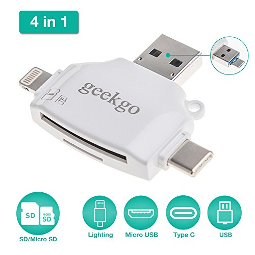 Geekgo SD & Micro SD Card Reader for Apple iPhone iPad / Android Phone / Macbook / Computer, Memory Card Adapter with Lightning, USB C, Micro USB, USB 4 Interfaces, Picture and Video Viewer for Camera