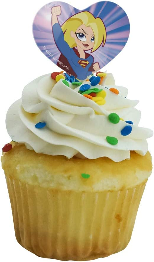 Supergirl DC Super Friend Hero Girls Deluxe Mini Cake Toppers Cupcake Decorations Set of 14 with Figures Batgirl and More! a Sticker Sheet and Toy Ring Featuring Wonder Woman