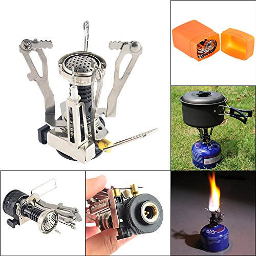 Camp Stove, Petforu Mini Folding Stainless Steel Outdoor Camping Gas Butane Propane Stove Burner Cookware