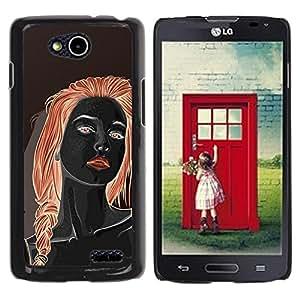 GOODTHINGS Funda Imagen Diseño Carcasa Tapa Trasera Negro Cover Skin Case para LG OPTIMUS L90 / D415 - chica pelirroja negro labios rojos Mujer