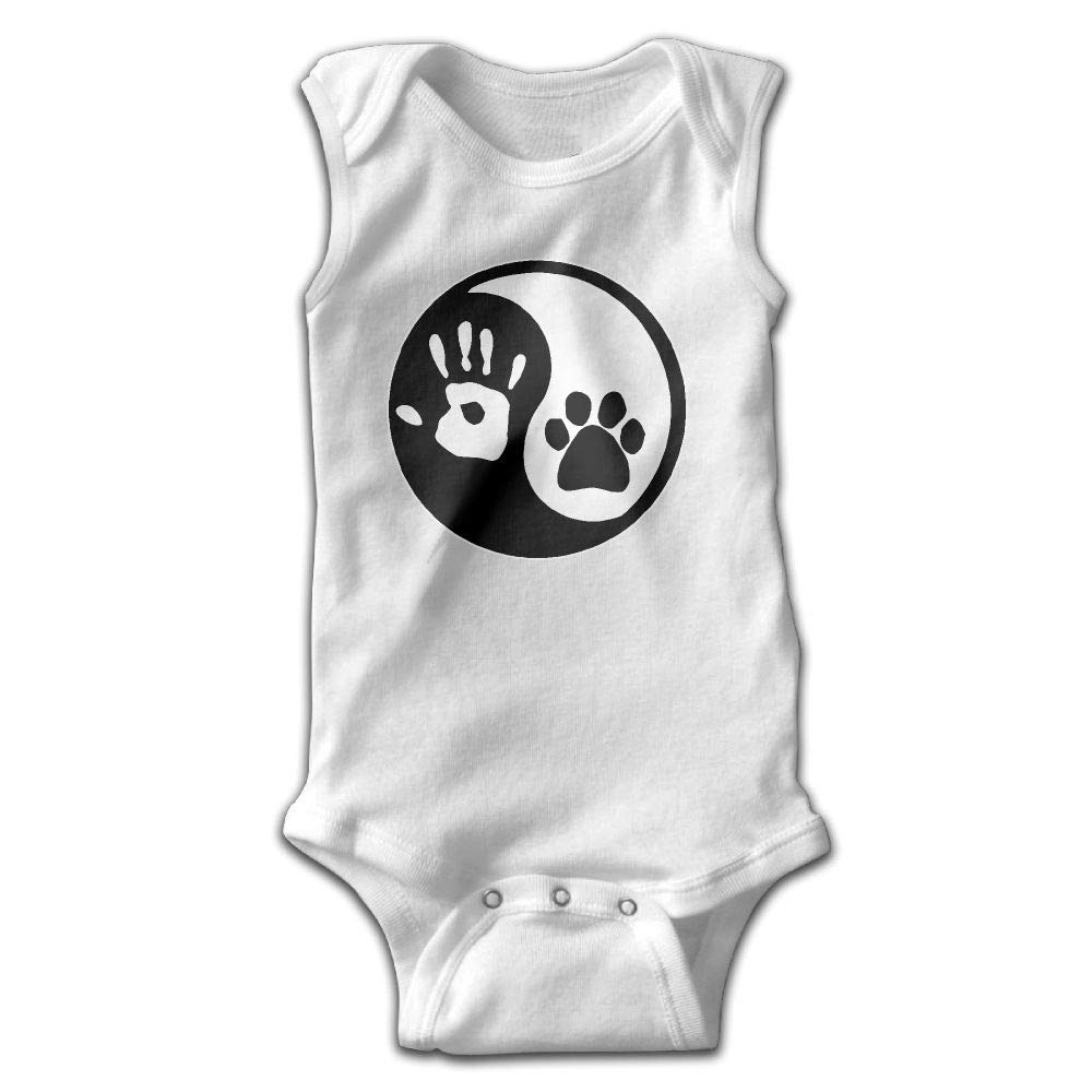 Ying Yang Hand and Dog Paw Infant Baby Boys Girls Crawling Clothes Sleeveless Rompers Romper Jumpsuit White