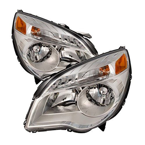 Chevrolet Equinox Replacement Headlight - PERDE Compatible with Chevy Equinox LT/LS Chrome Housing Headlamps Set Driver Passenger Pair Headlights With Performance Lens