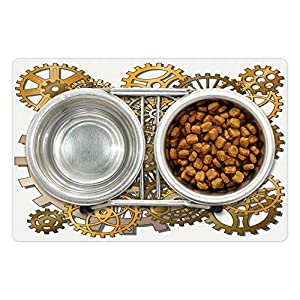 Ambesonne Clock Pet Mat for Food and Water, Gears in Style of Steampunk Mechanical Design Engineeringme Print, Rectangle Non-Slip Rubber Mat for Dogs and Cats, Pale Orange Brown