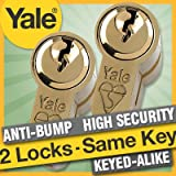 Yale Anti-Bump Euro Cylinder 50/50mm Keyed Alike Nickel Finish (aka 45-10-45mm - 100mm overall) 6 keys supplied - suitable for french patio doors, and matching keys front and back doors by Yale