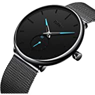 [Sponsored]Mens Black Watches Men Stainless Steel Waterproof Mesh Watch Simple Designer Analogue...