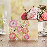 Wishmade Laser Cut Flower Wedding Invitations Cards With Gold Butterfly Engagement Party Bridal Shower Invites CW6017 (100, invitation card)