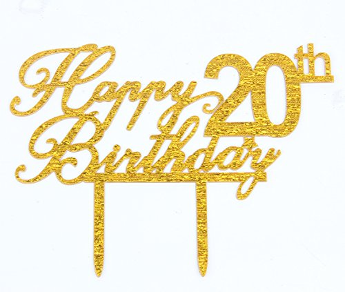 Happy 20th Birthday Gold Acrylic Cake Topper Birthday Party Decoration Supplies - 20th Birthday Decorations
