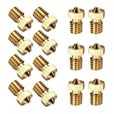 EAONE 14PCS M6 3D Printer 0.2mm 0.3mm 0.4mm 0.5mm 0.6mm 0.8mm 1.0mm Extruder Brass Nozzle Print Head for E3D Makerbot (2pcs/Each Size)