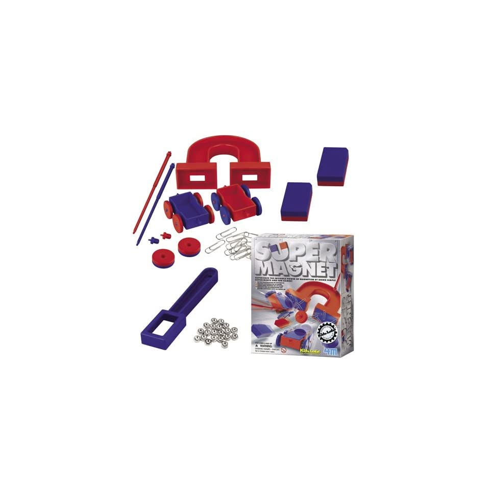 Kids Science Super Magnet Kit includes a variety of magnets in different shapes and sizes, metal nuts, paper clips and more. Kit also includes instructions and fun magnet facts.