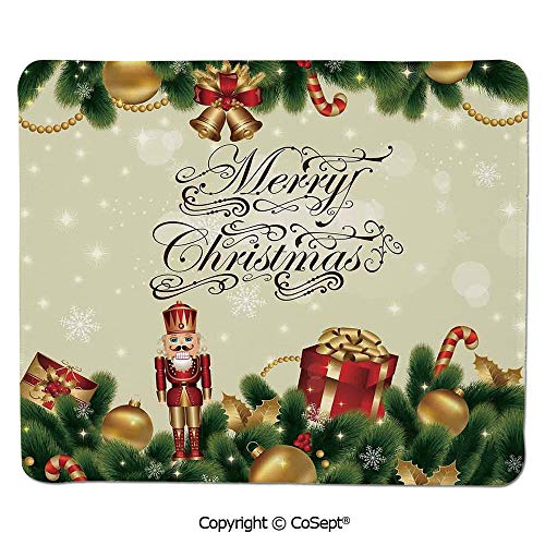 - Ergonomic Mouse pad,Noel Ornaments with Birch Branch Cute Ribbons Bells Candy Canes Art Image,Dual Use Mouse pad for Office/Home (7.87