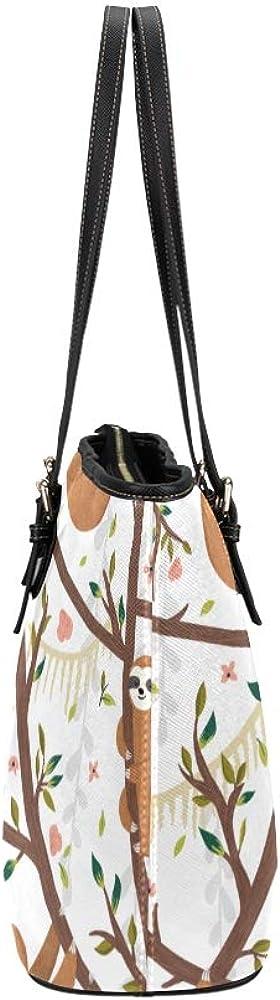 Book Tote Bag Cartoon Animated Cute Animal Sloth Leather Hand Totes Bag Causal Handbags Zipped Shoulder Organizer For Lady Girls Womens Women Travel Bag