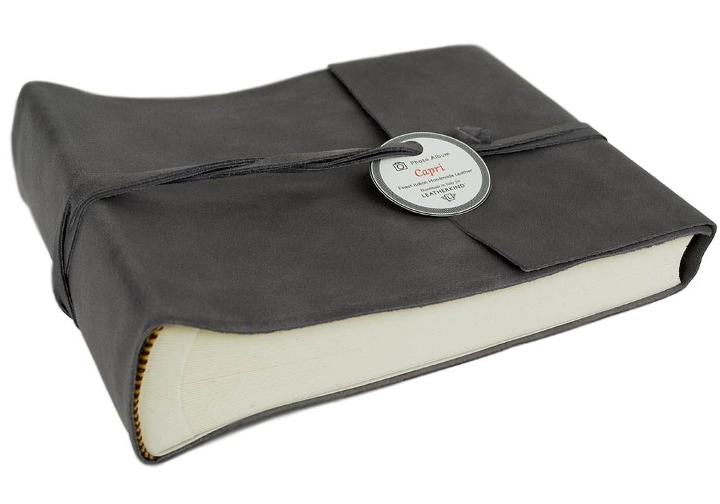 Capri Small Charcoal Handmade Italian Leather Wrap Photo Album, Classic Style Pages (22cm x 16cm x 6cm) by LEATHERKIND