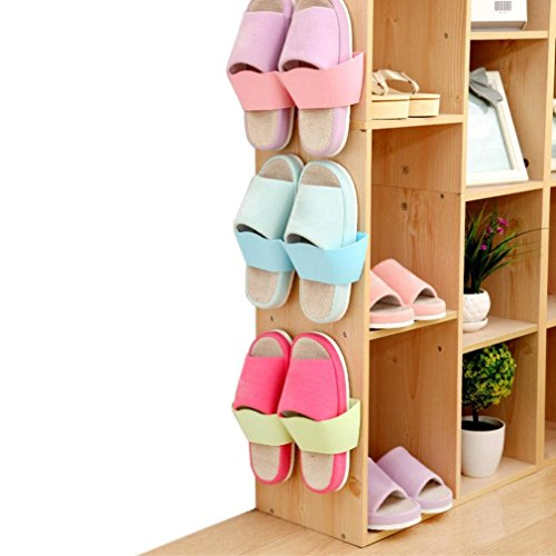 Price comparison product image Auwer 2017 New Hanging Wall Shoes Rack Door Wall Vertical DIY Shoe Rack Bathroom Shoe Rack