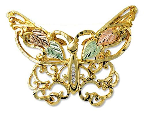Landstroms 10k Black Hills Gold Diamond Butterfly Pendant - G - Pin Diamond Butterfly