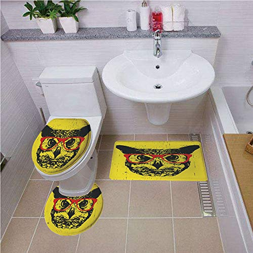 (Bath mat set Round-Shaped Toilet Mat Area Rug Toilet Lid Covers 3PCS,Modern,Owl with Glasses Portrait Hipster Nocturnal Animal Grunge Humor Graphic,Dark Grey Yellow Red ,Bath mat set Round-Shaped Toil)